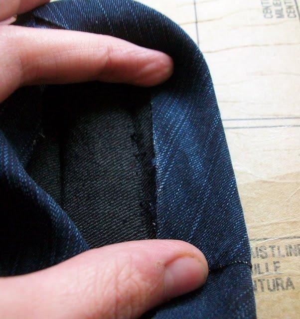 fold edge up to stitching