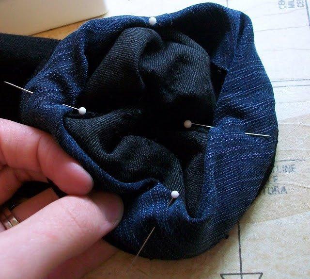 fold and pin around hem