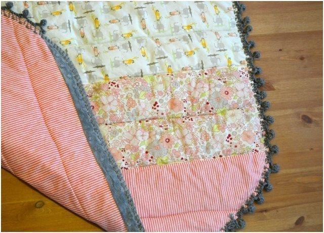 Pompom Edge Baby Girl Quilt