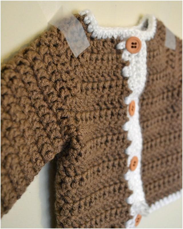 Crocheted Newborn Cardigan and Softening Yarn