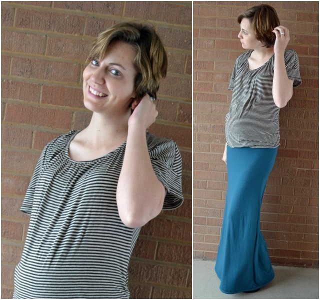 Ruched Maternity Maxi Skirt