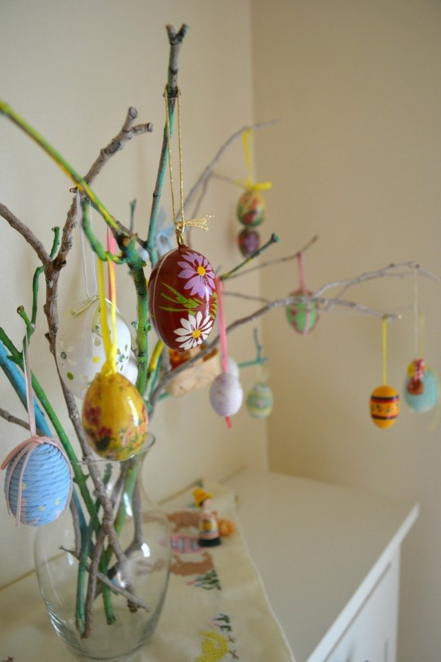 Easter Egg Tree and Branch Painting: Involving Kids in Decorating