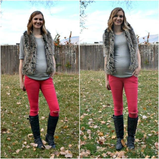 Me Made: Fur Vest and Metallic Dotted Maternity Tee