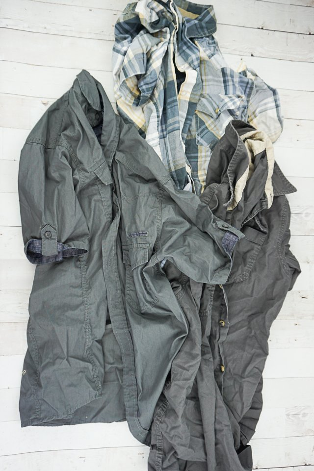 Men's Shirt to Dress Refashion supplies