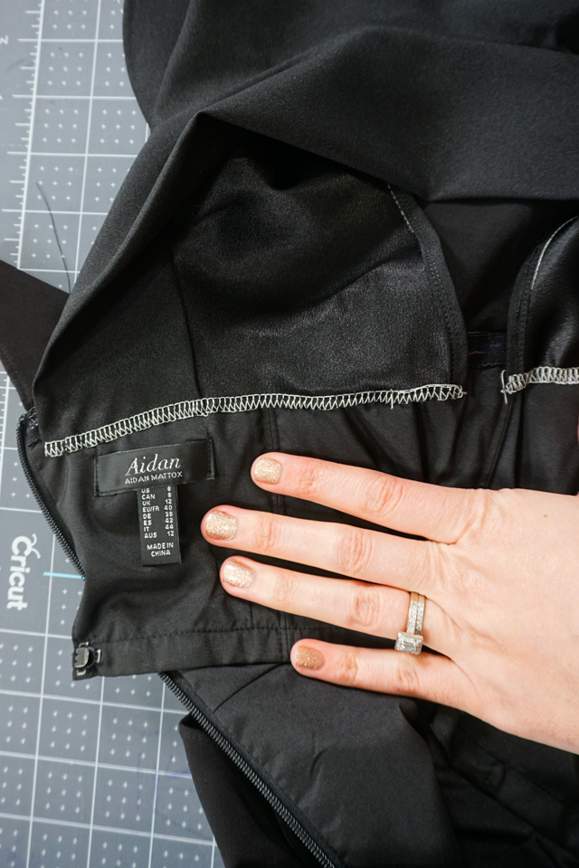hand sew the strap and sleeve onto the top of the dress