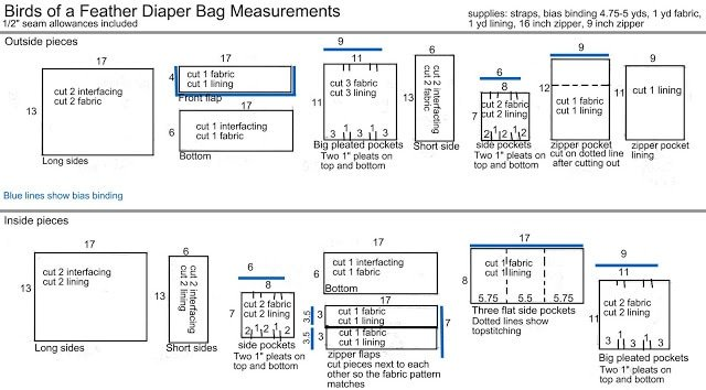 Birds of a Feather Diaper Bag Measurements