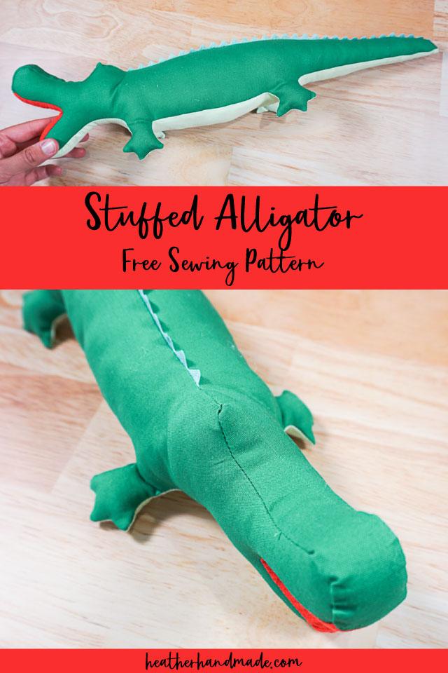 Free Stuffed Alligator Sewing Pattern