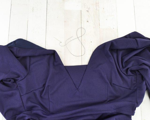 sew inset piece to neckline