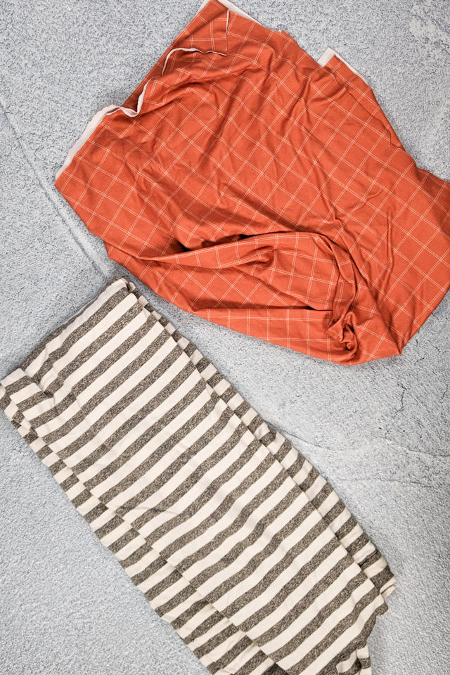 two pieces of knit fabric