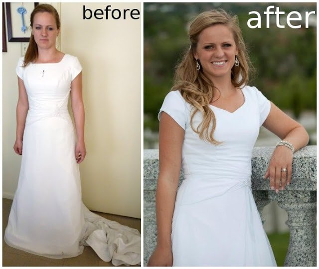 Wedding Dress Alteration After: Adding a Godet