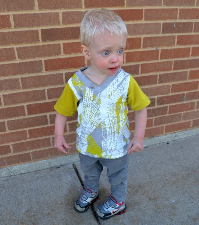 Tire Track Shirt and Gray Corduroy Skinnies: Boys 2013 Spring/Summer Line