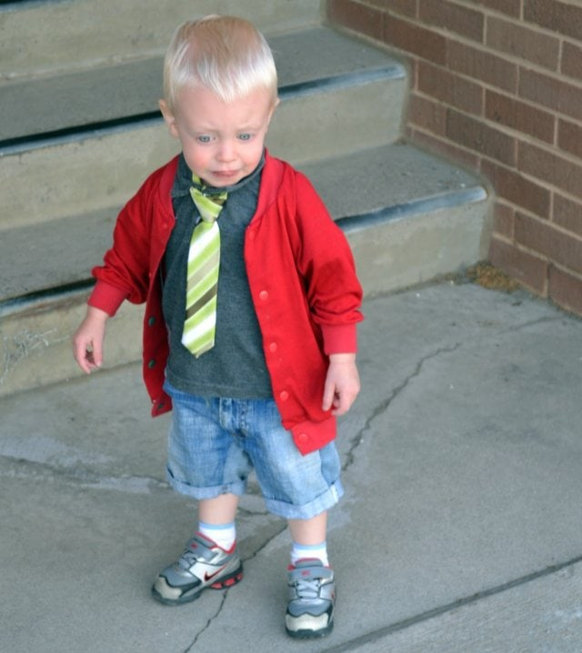 Gray Polo, Red Cardigan, and Jean Shorts: Boys 2013 Spring/Summer Line
