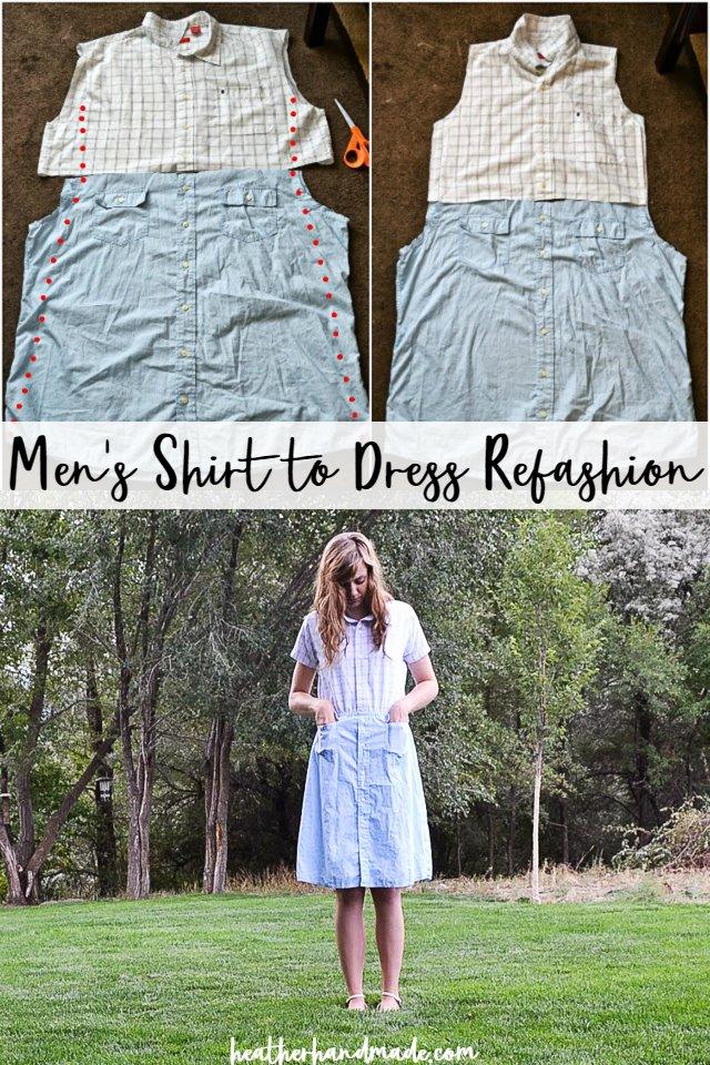 men's shirt to dress refashion