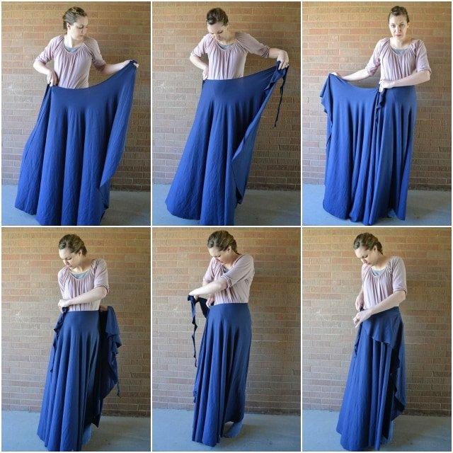 "Adjustable One-Seam ""No-Flashing"" Wrap Skirt Tutorial // heatherhandmade.com"