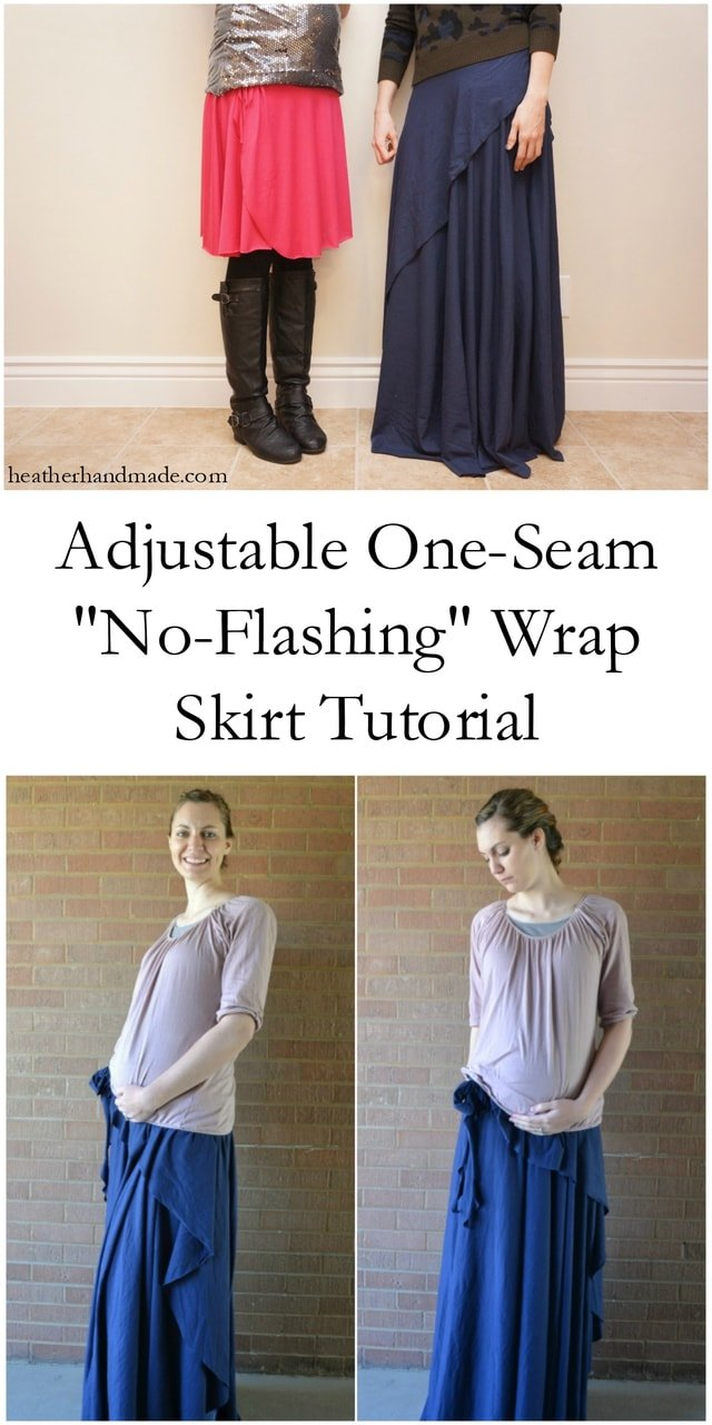 "Adjustable One-Seam ""No-Flashing"" Wrap Skirt Tutorial // heatherhandmade.com"