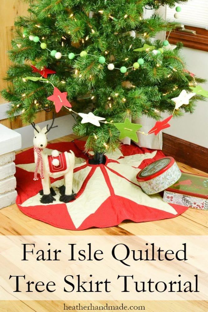 Fair Isle Quilted Tree Skirt Tutorial + Free Pattern