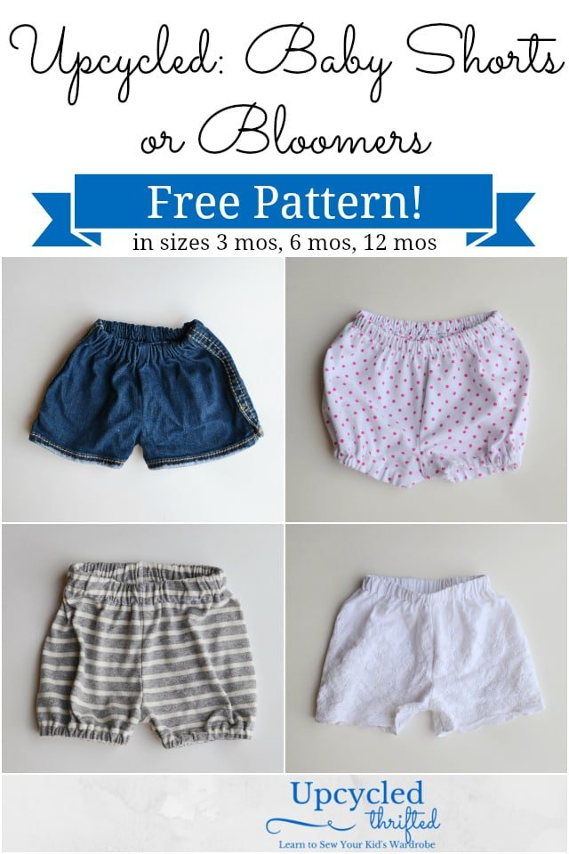 How to Upcycle Baby Shorts with Free Baby Shorts Sewing Pattern