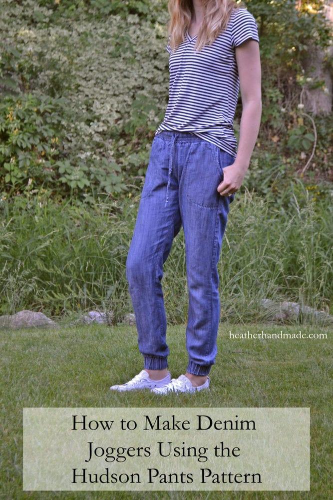How to Make Denim Joggers Using the Hudson Pants Pattern // heatherhandmade.com