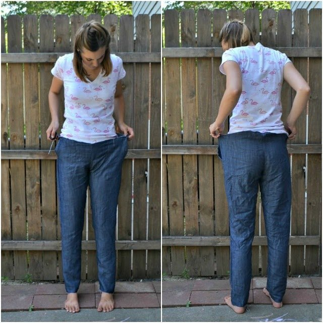 How to Make Denim Joggers Using the Hudson Pants Pattern