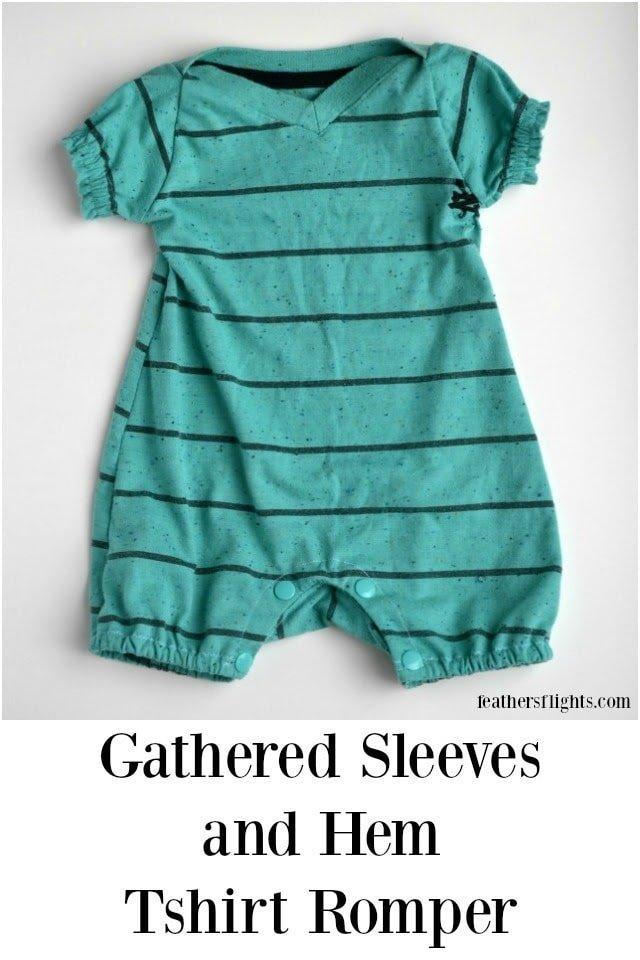 Gathered Sleeves and Hem Tshirt Romper Tutorial