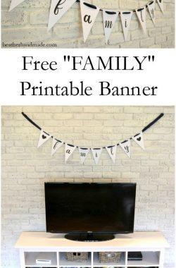"Free ""FAMILY"" Printable Banner // heatherhandmade.com"