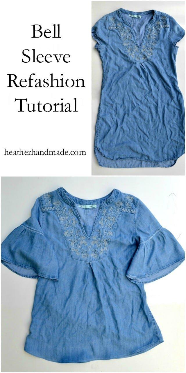 Bell Sleeve Refashion Tutorial // heatherhandmade.com