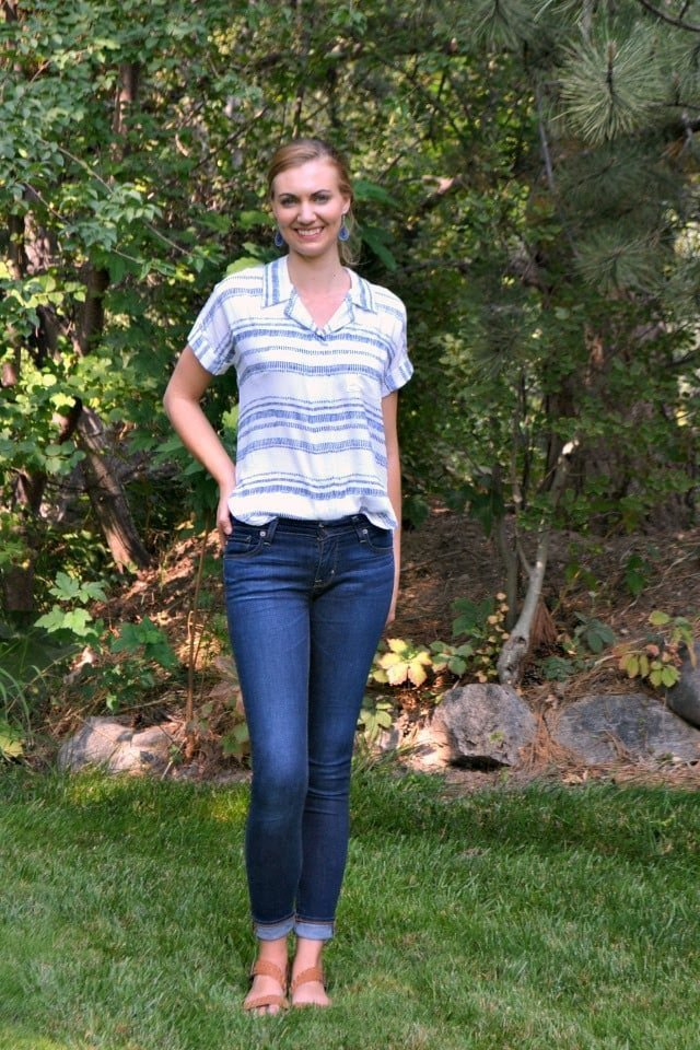 Striped Rayon Willamette Shirt + Using Fabric as Interfacing