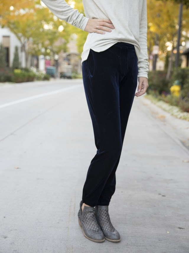 Linden Sweater and Velvet Ruri Pants: Me Made Holiday Outfit