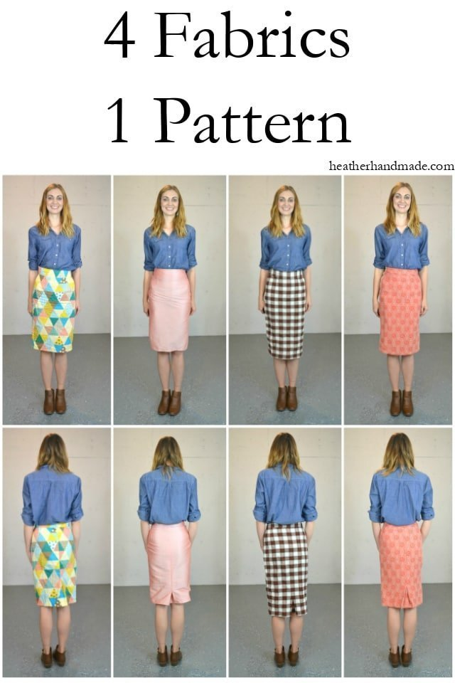 Pleated Pencil Skirt in Four Different Fabrics