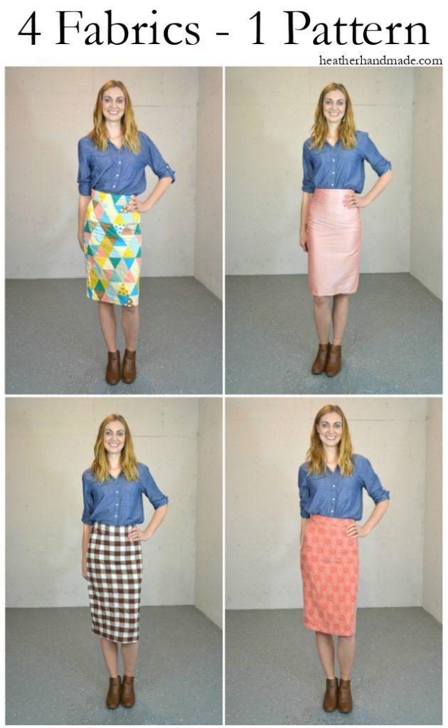 Pleated Pencil Skirt in Four Fabrics // heatherhandmade.com