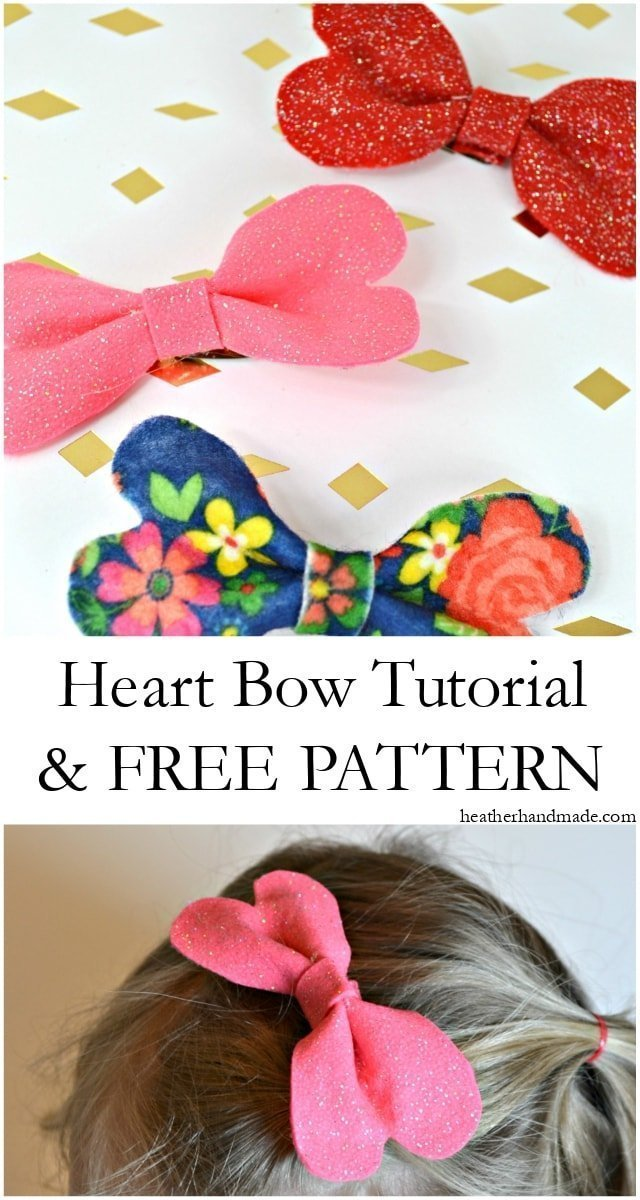 Heart Bow Tutorial and Free Pattern • Heather Handmade