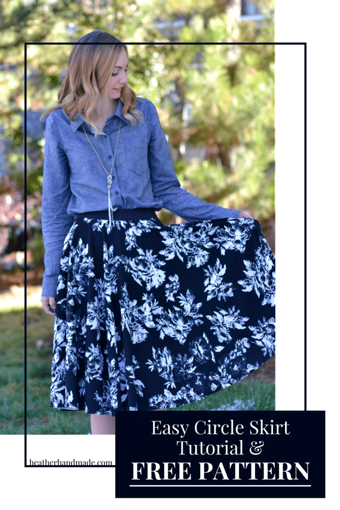 Easy Circle Skirt Tutorial and Free Sewing Pattern // heatherhandmade.com