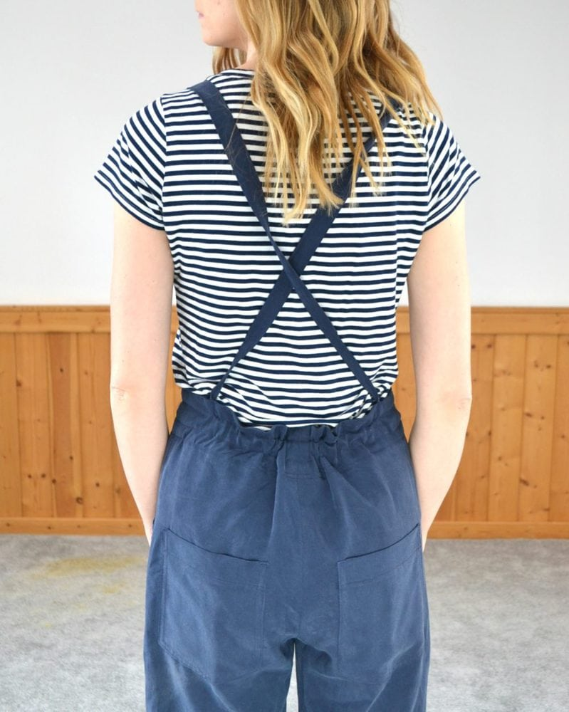 Navy Tencel Burnside Bibs // heatherhandmade.com