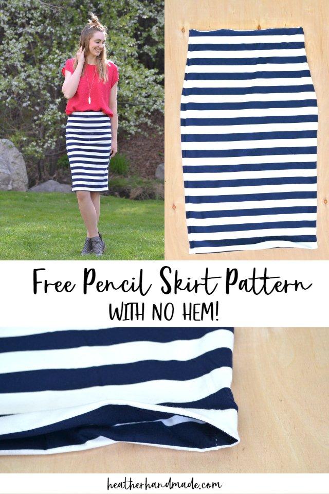 free pencil skirt pattern with no hem