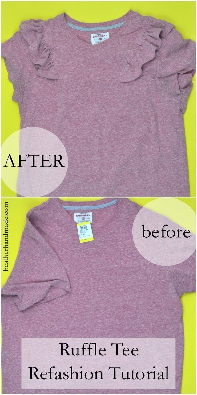 Ruffle Tee Refashion Tutorial // heatherhandmade.com