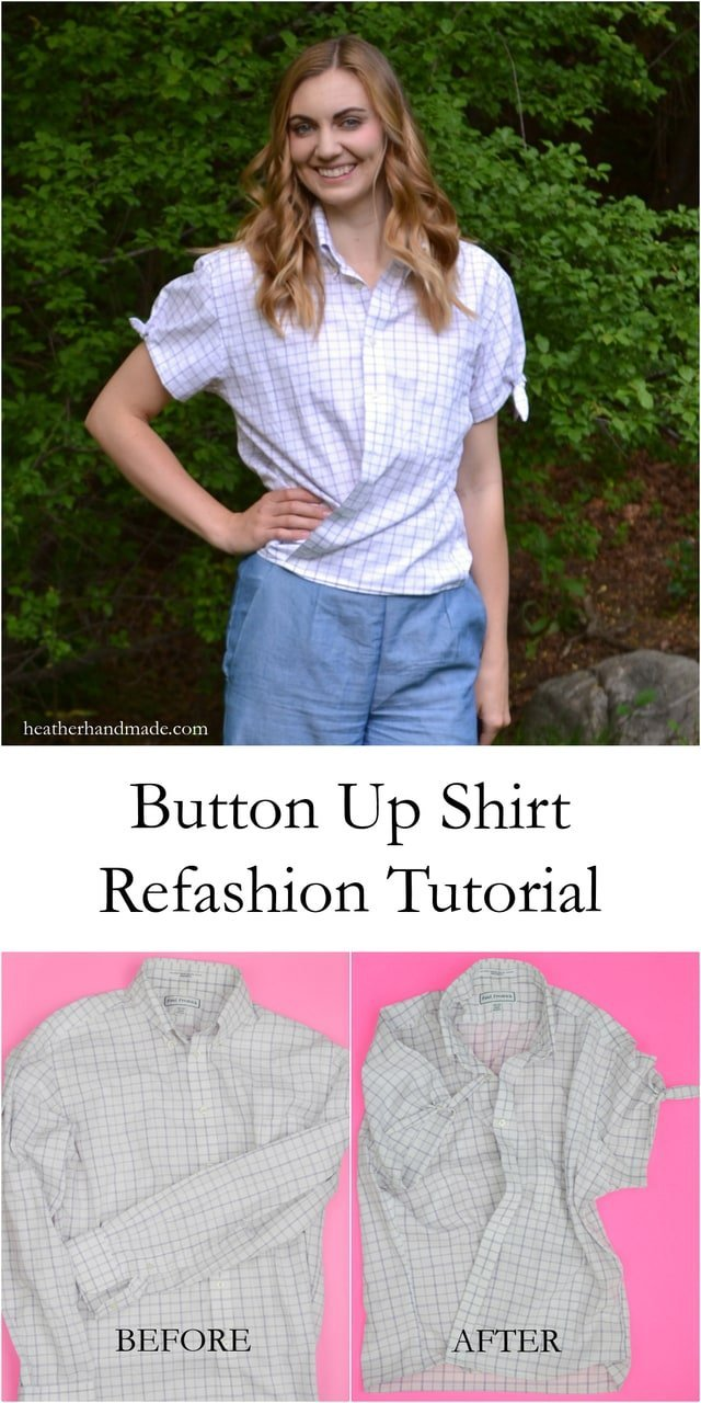 Button Up Shirt Refashion Tutorial // heatherhandmade.com