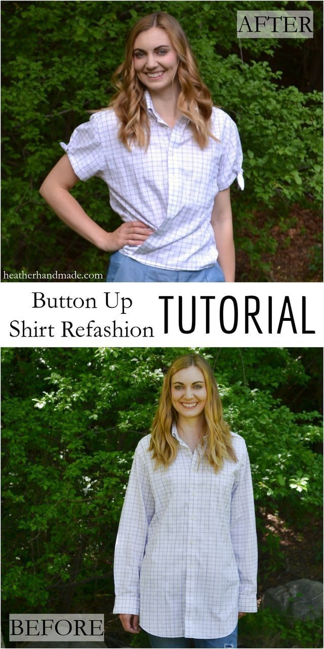 Summertime Button Up Shirt Refashion Tutorial