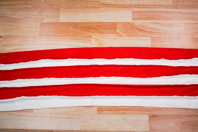layer the long strips and sew wrong sides together
