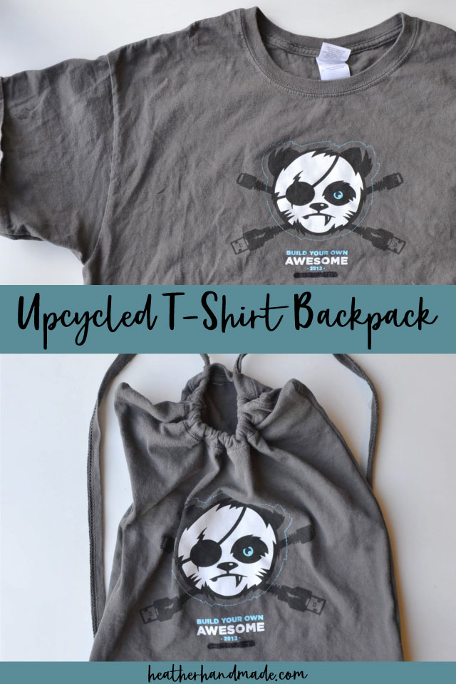 upcycled t-shirt backpack