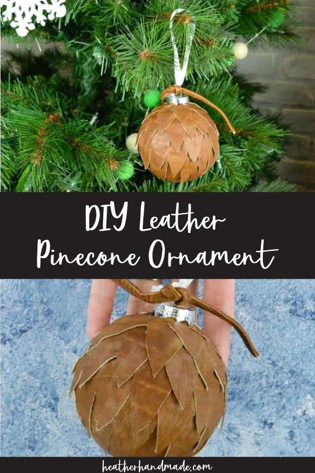 diy leather pinecone ornament