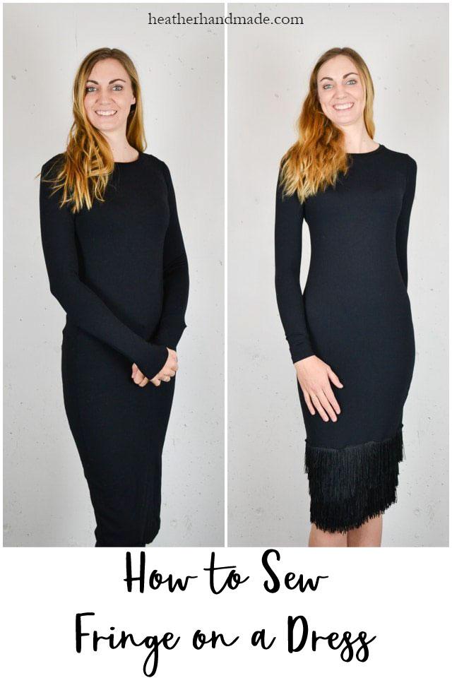 how to sew fringe on a dress