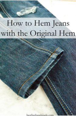 How to Hem Jeans with the Original Hem // heatherhandmade.com