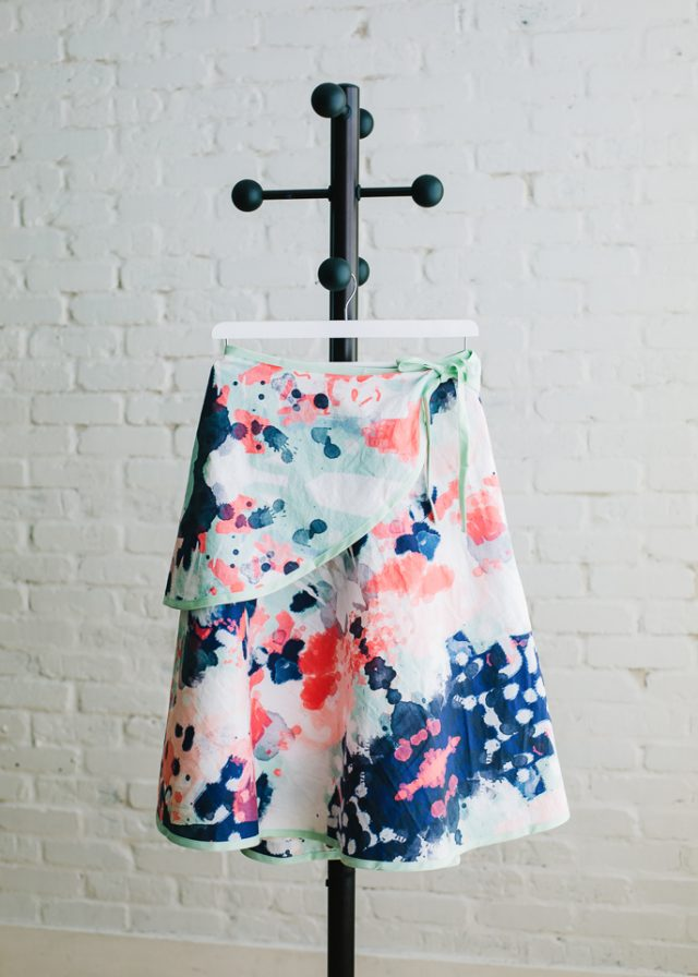 wrap skirt hanging on hanger