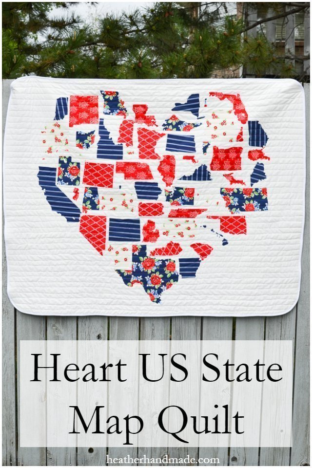 Heart US State Map Quilt • Heather Handmade