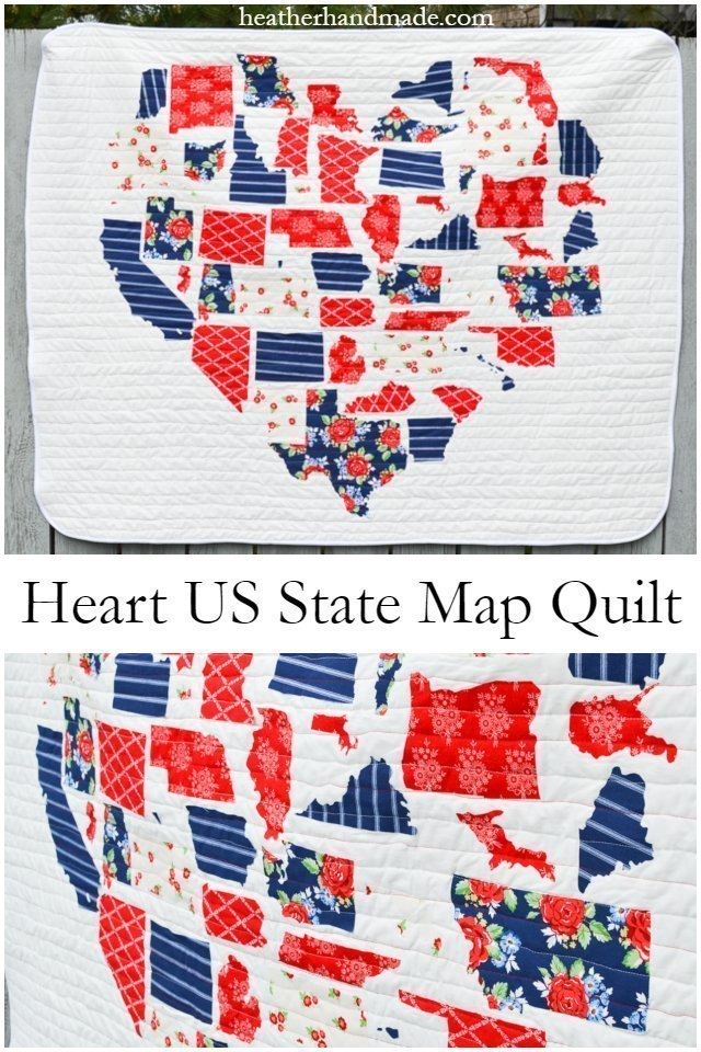 heart us state map quilt