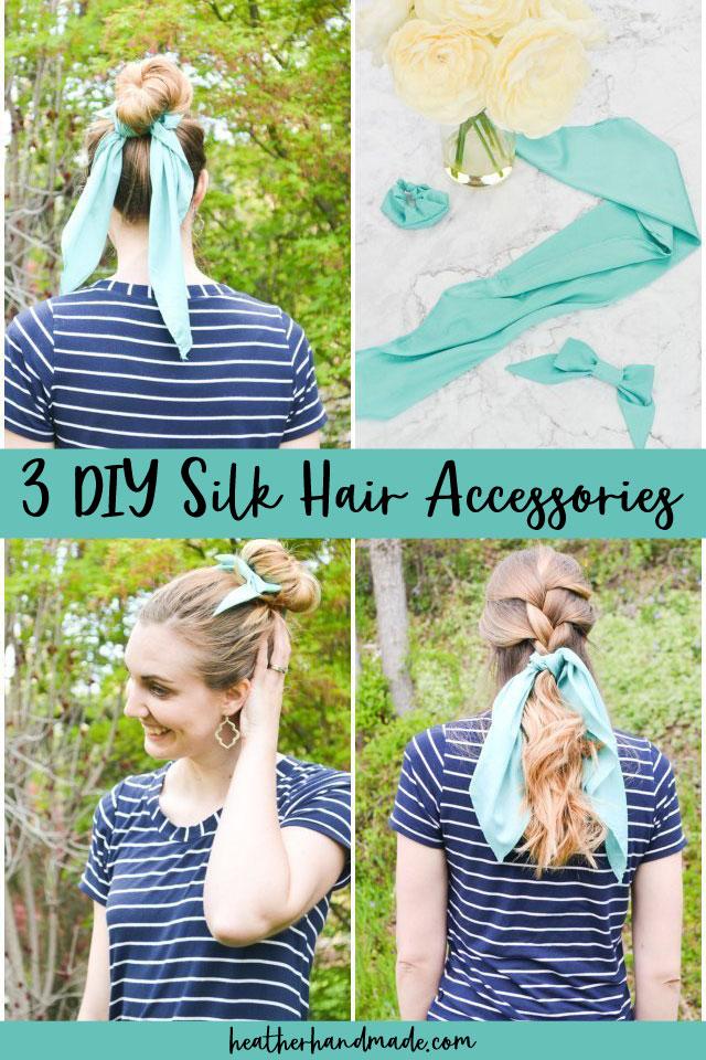 3 DIY Hair Accessories: Silk Scrunchie, Silk Scarf, and Silk Bow