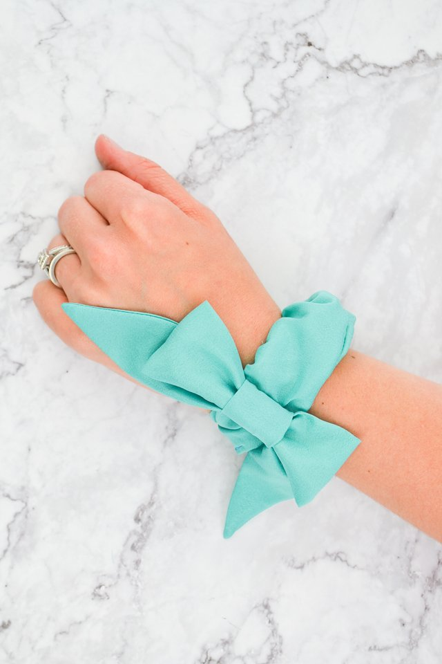 silk scrunchie on wrist