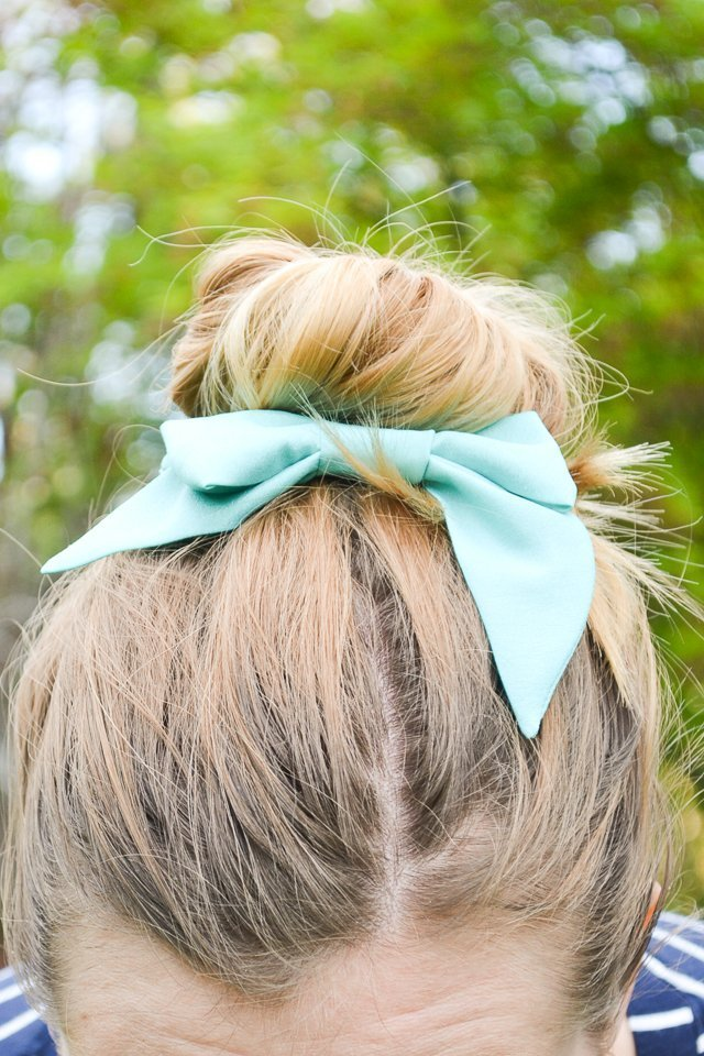 silk bow hair bun