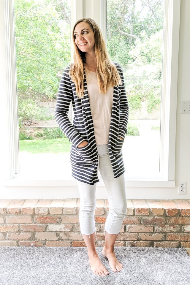 french terry fabric cardigan