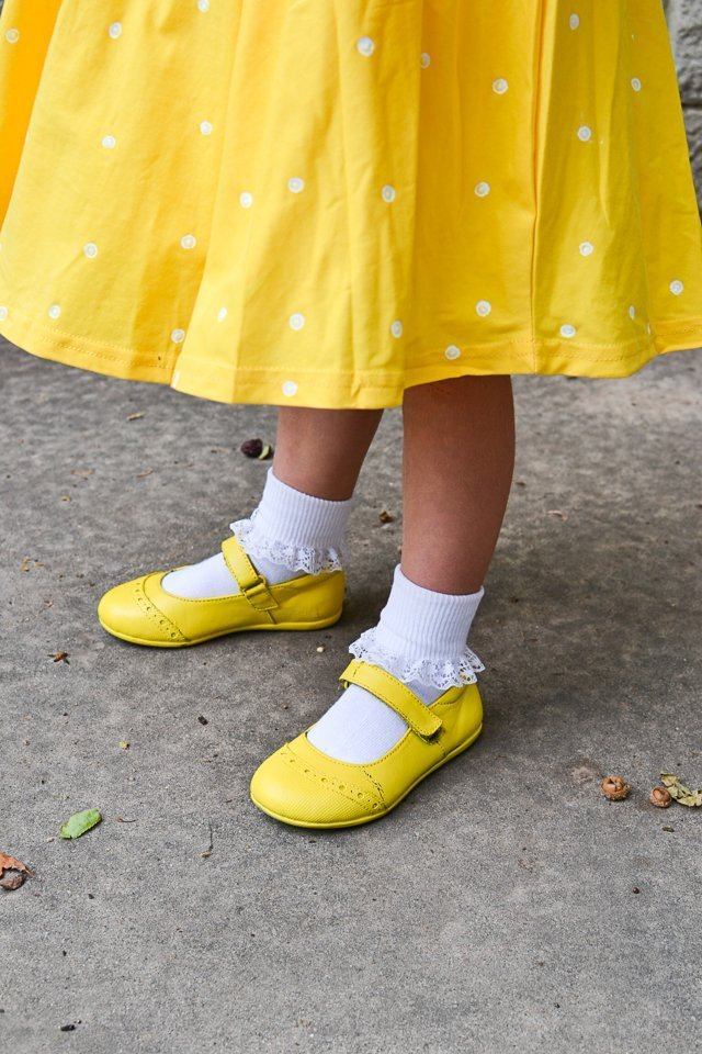 paint shoes yellow